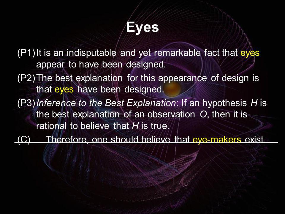 Eyes (P1) It is an indisputable and yet remarkable fact that eyes appear to have been designed.