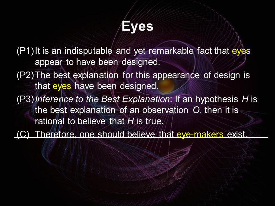 Eyes(P1) It is an indisputable and yet remarkable fact that eyes appear to have been designed.