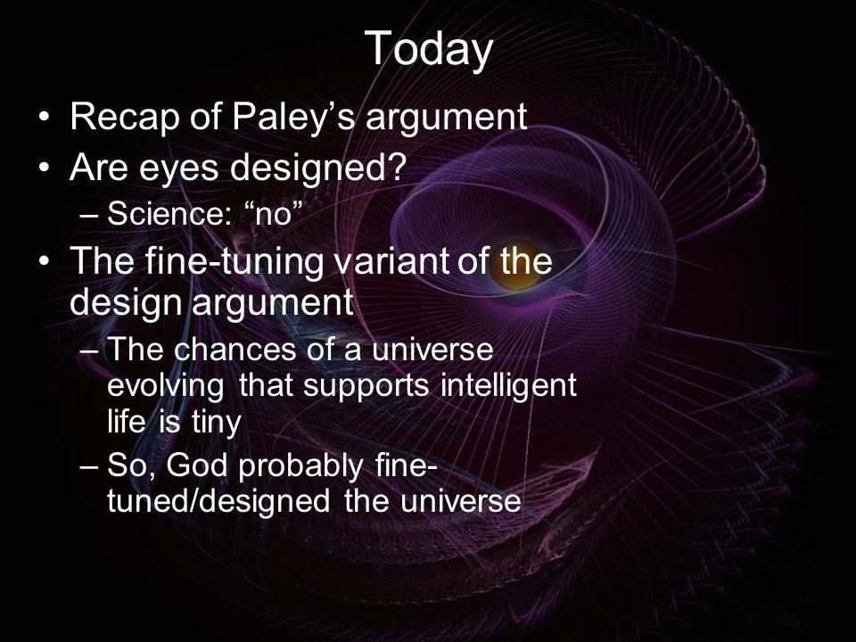 Today Recap of Paley's argument Are eyes designed