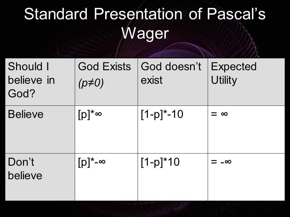 Standard Presentation of Pascal's Wager