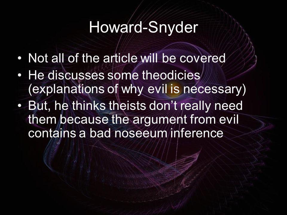 Howard-Snyder Not all of the article will be covered