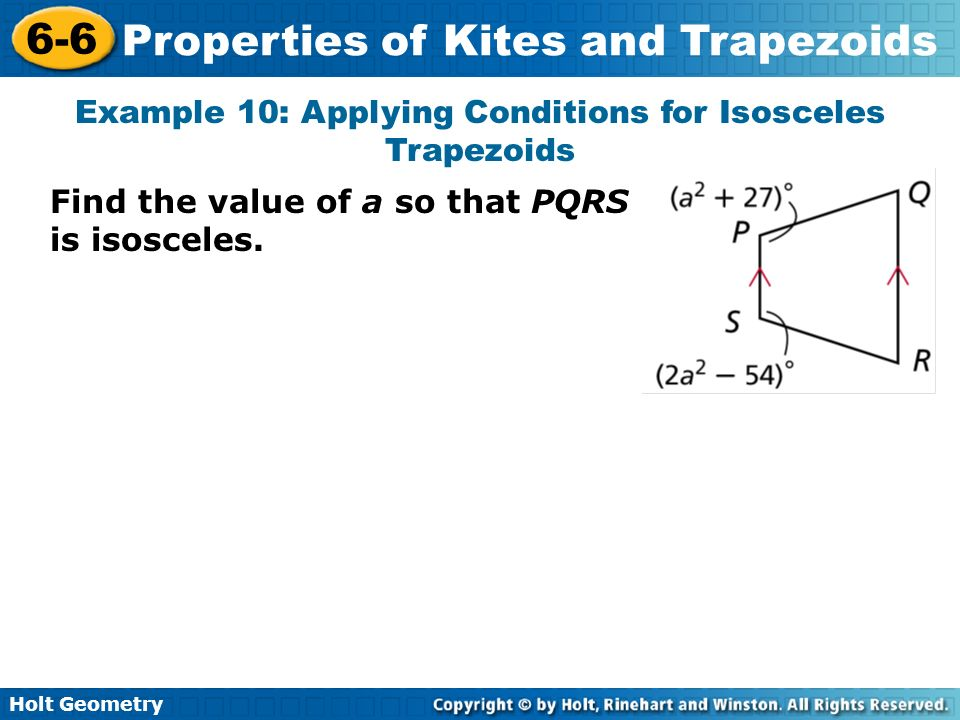 Example 10: Applying Conditions for Isosceles Trapezoids
