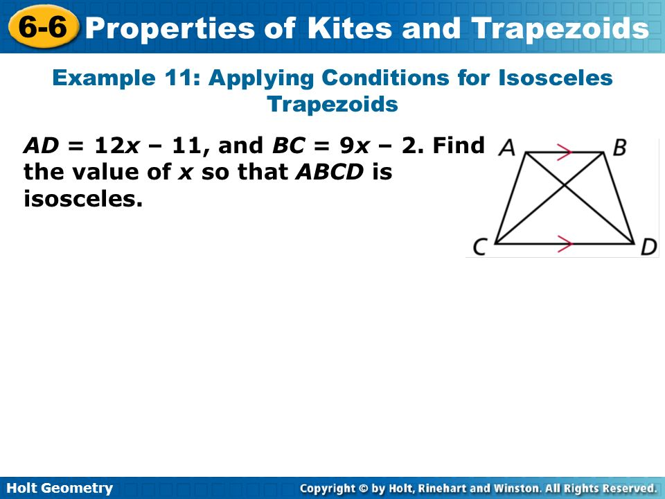 Example 11: Applying Conditions for Isosceles Trapezoids