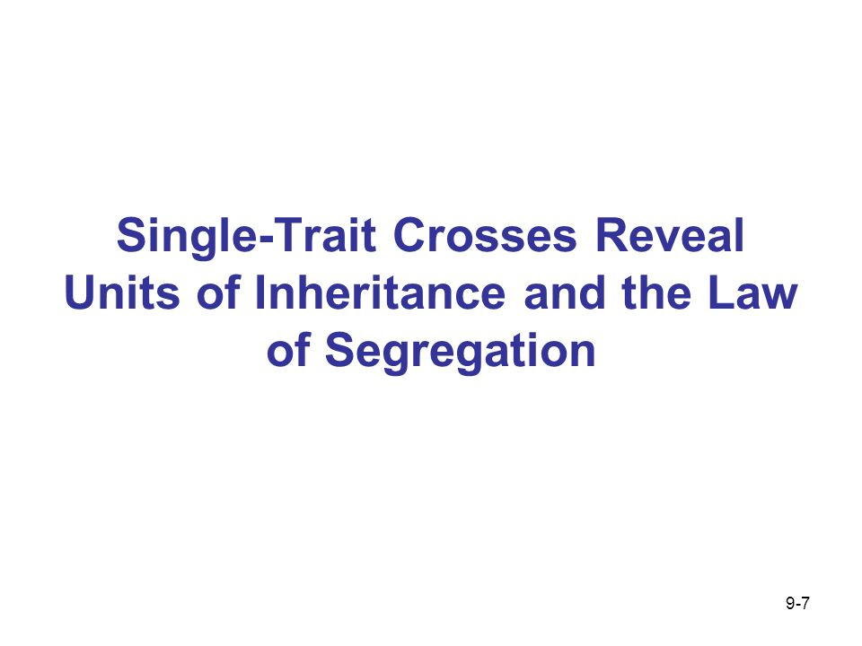 Single-Trait Crosses Reveal Units of Inheritance and the Law of Segregation