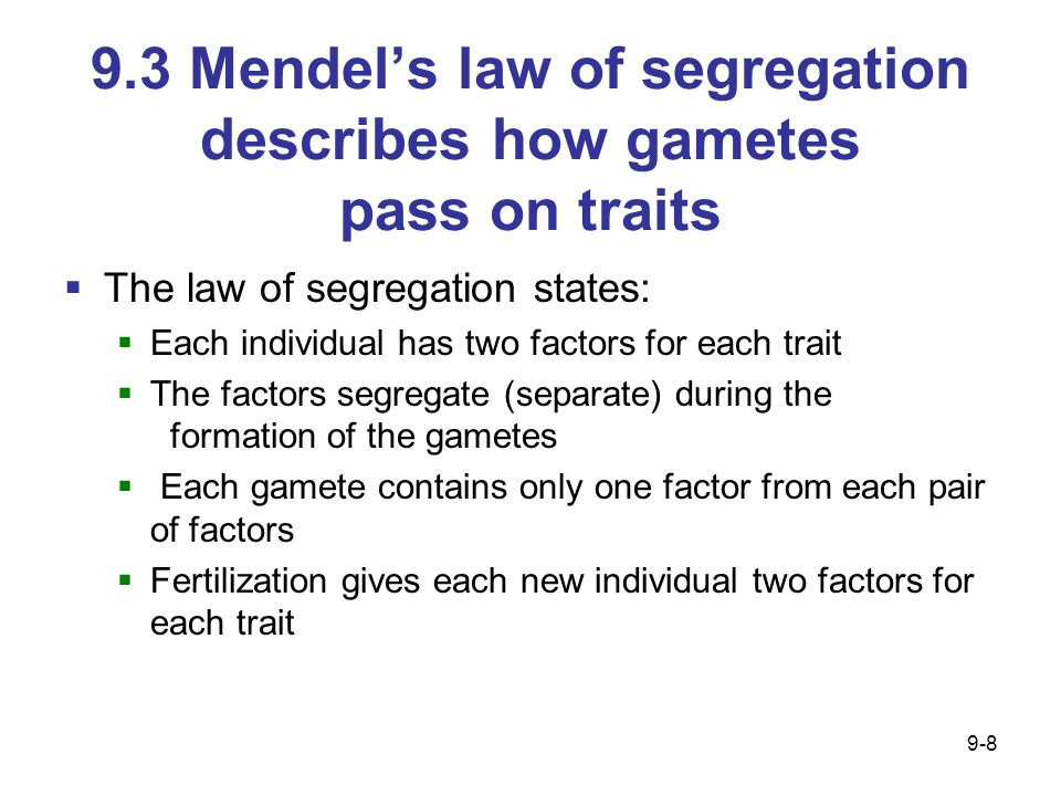 9.3 Mendel's law of segregation describes how gametes pass on traits