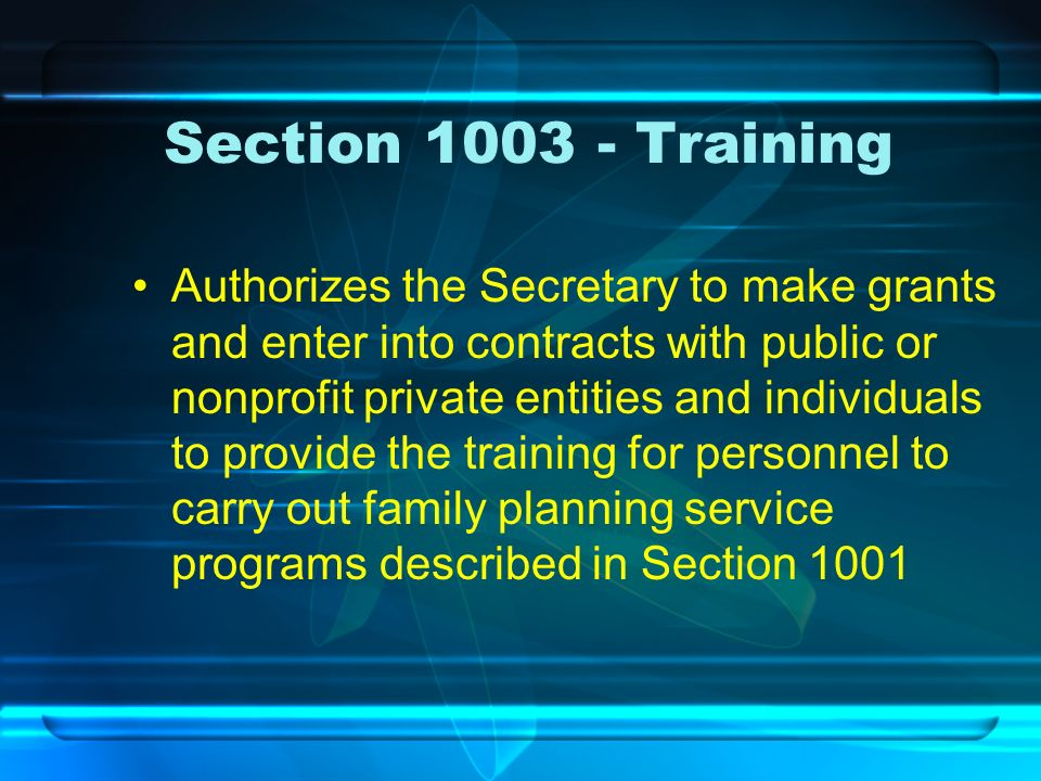 Section 1003 - Training