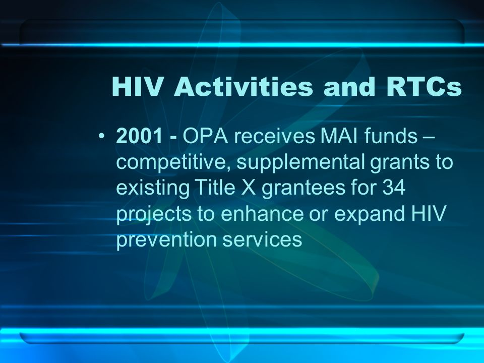 HIV Activities and RTCs