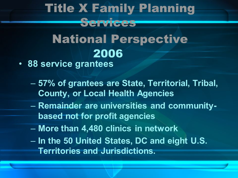 Title X Family Planning Services National Perspective 2006