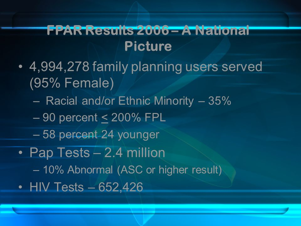 FPAR Results 2006 – A National Picture