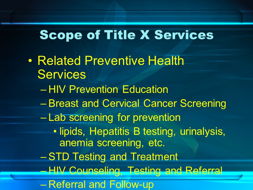 Scope of Title X Services