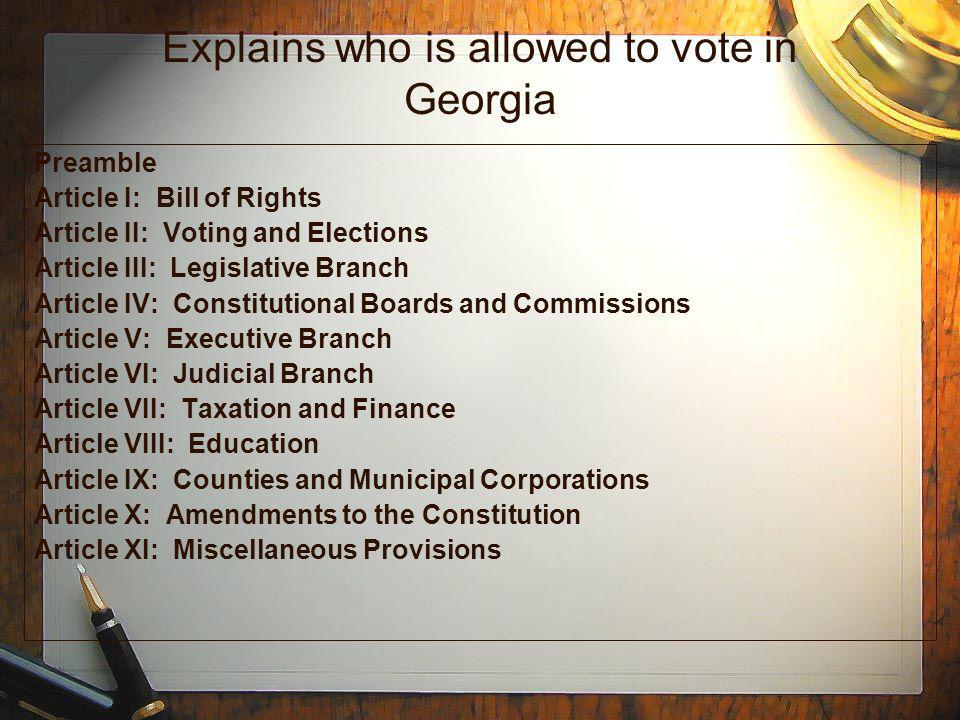 Explains who is allowed to vote in Georgia