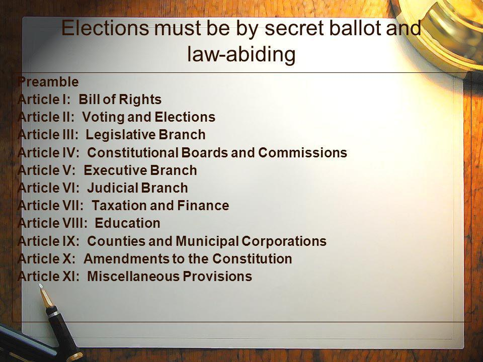 Elections must be by secret ballot and law-abiding