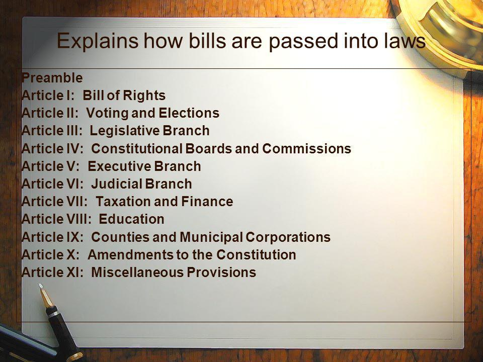 Explains how bills are passed into laws