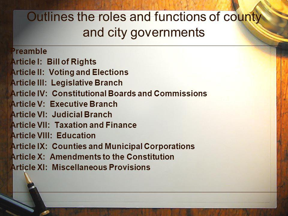 Outlines the roles and functions of county and city governments