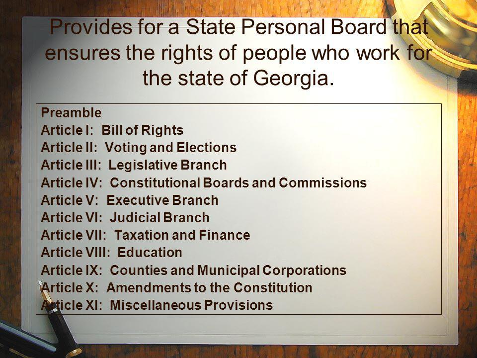 Provides for a State Personal Board that ensures the rights of people who work for the state of Georgia.
