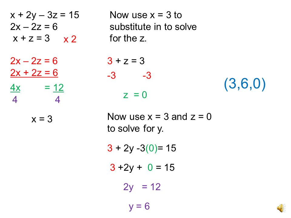 x + 2y – 3z = 15 2x – 2z = 6. x + z = 3. Now use x = 3 to substitute in to solve for the z. x 2.