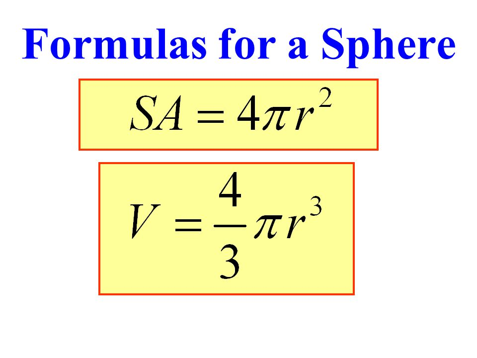 Formulas for a Sphere