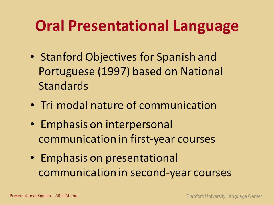 Oral Presentational Language