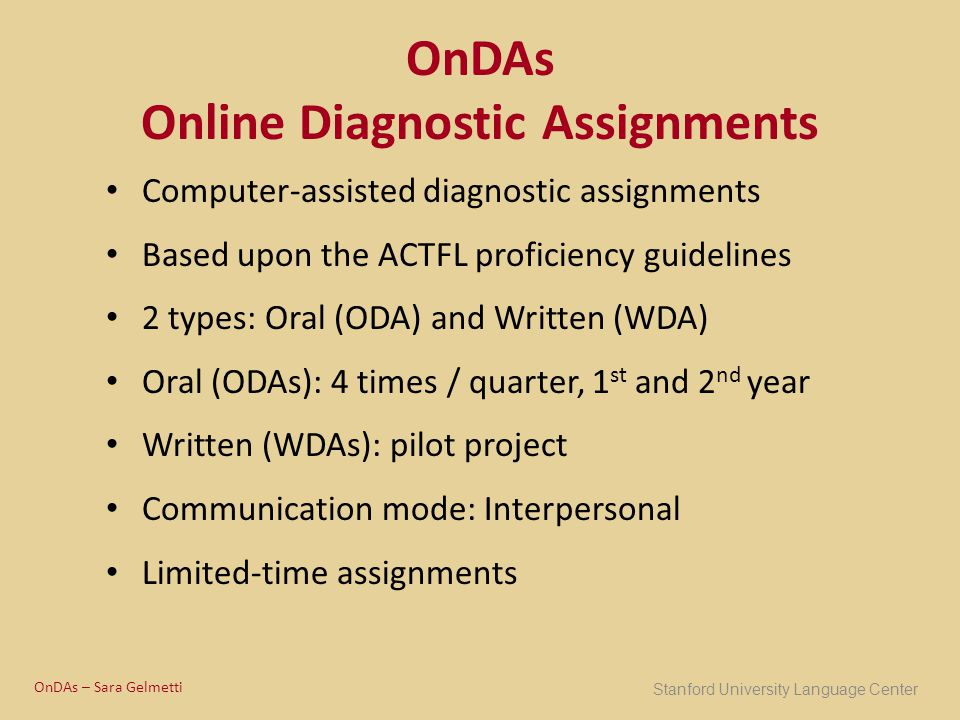 OnDAs Online Diagnostic Assignments