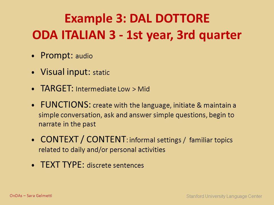 Example 3: DAL DOTTORE ODA ITALIAN 3 - 1st year, 3rd quarter
