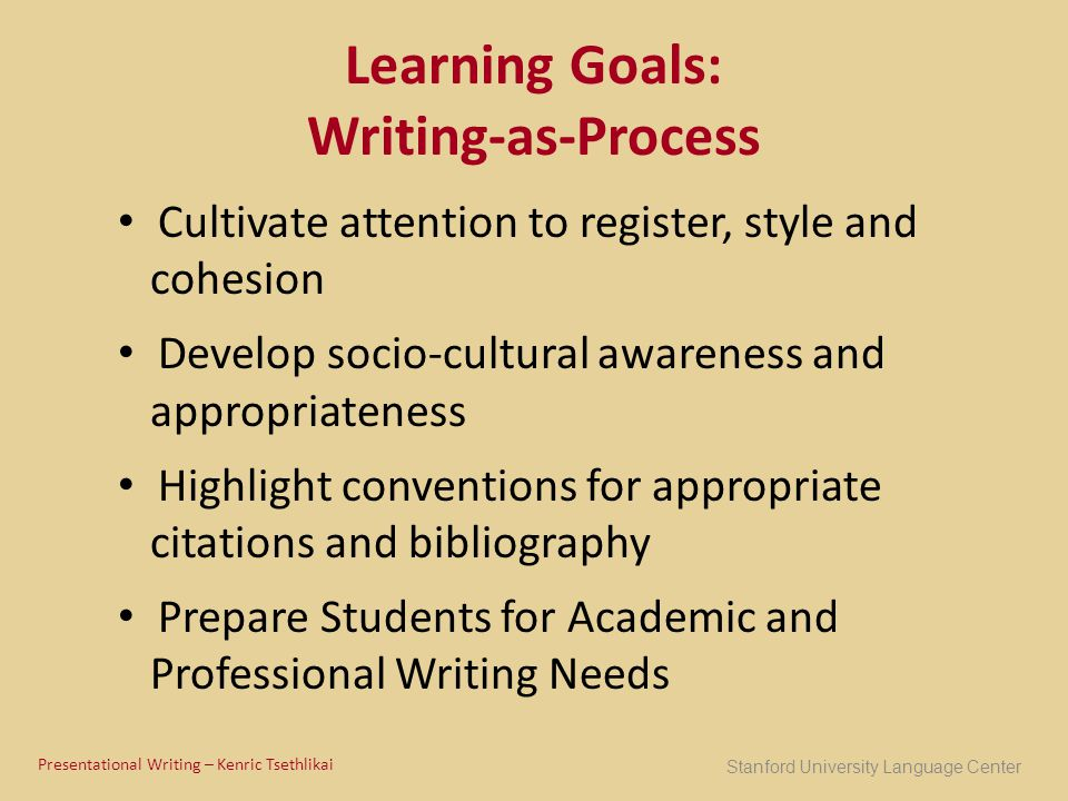 Learning Goals: Writing-as-Process