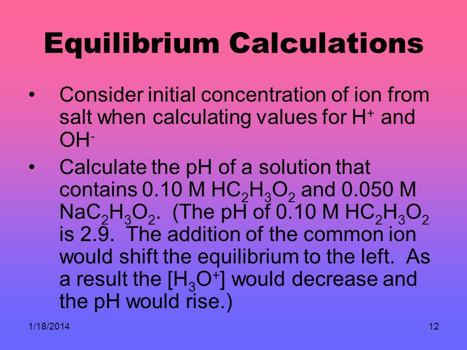 Equilibrium Calculations