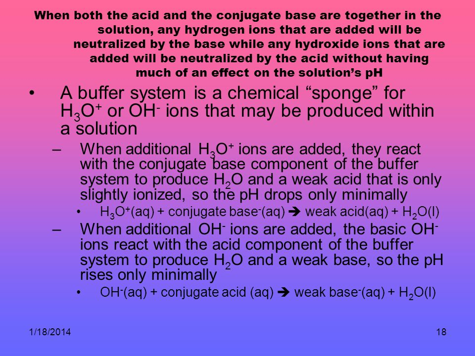 When both the acid and the conjugate base are together in the solution, any hydrogen ions that are added will be neutralized by the base while any hydroxide ions that are added will be neutralized by the acid without having much of an effect on the solution's pH