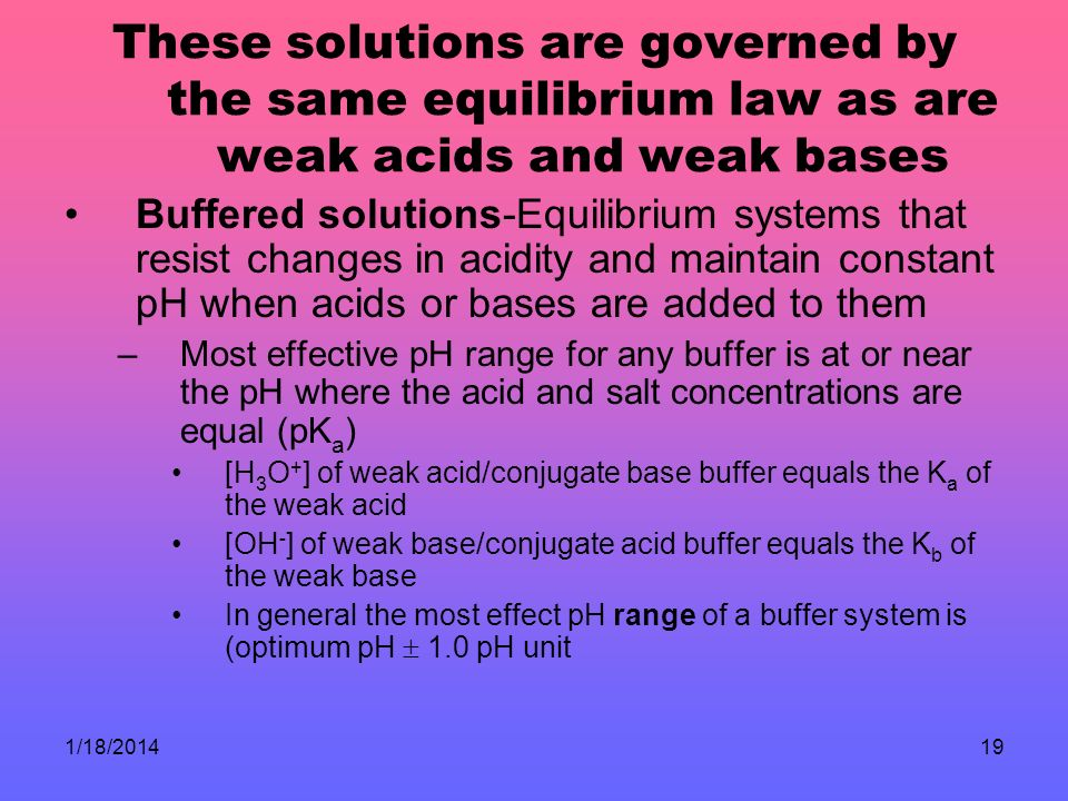 These solutions are governed by the same equilibrium law as are weak acids and weak bases