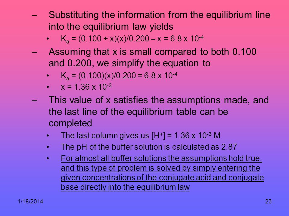 Substituting the information from the equilibrium line into the equilibrium law yields