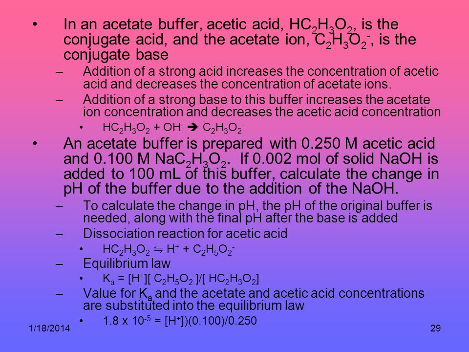 In an acetate buffer, acetic acid, HC2H3O2, is the conjugate acid, and the acetate ion, C2H3O2-, is the conjugate base
