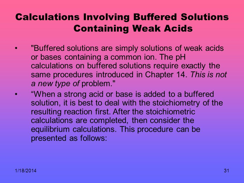Calculations Involving Buffered Solutions Containing Weak Acids