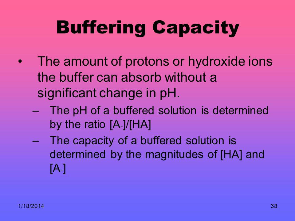 Buffering Capacity The amount of protons or hydroxide ions the buffer can absorb without a significant change in pH.