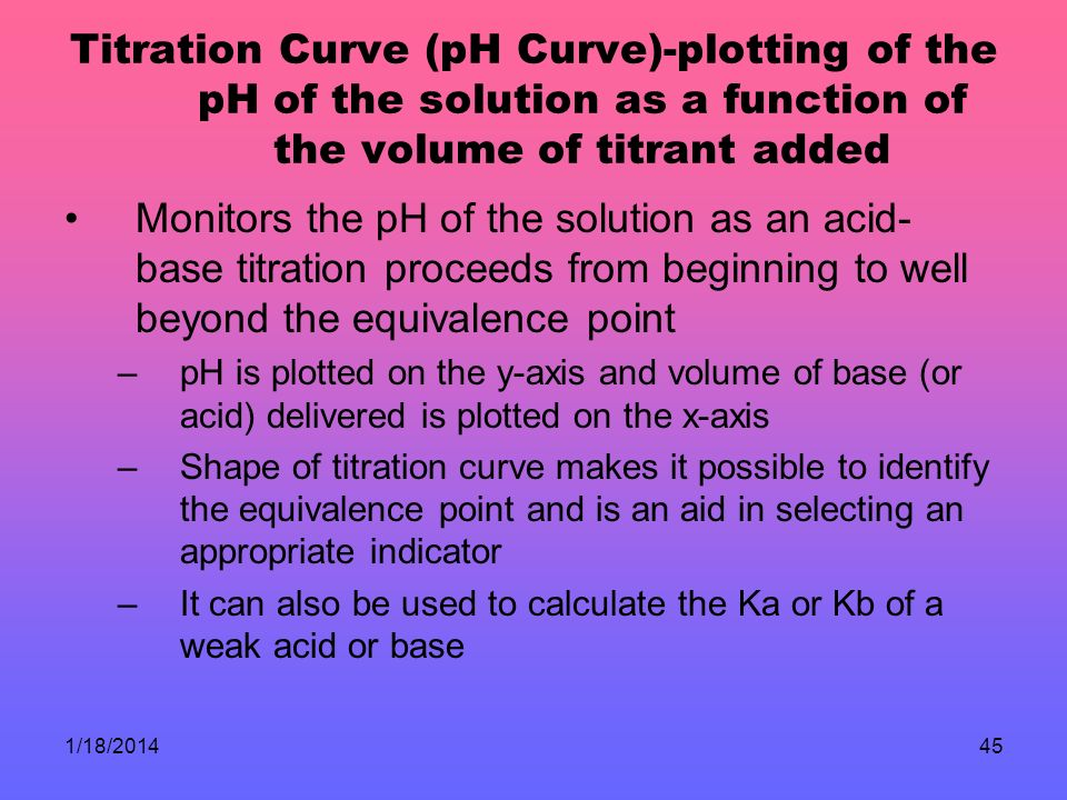 Titration Curve (pH Curve)-plotting of the pH of the solution as a function of the volume of titrant added