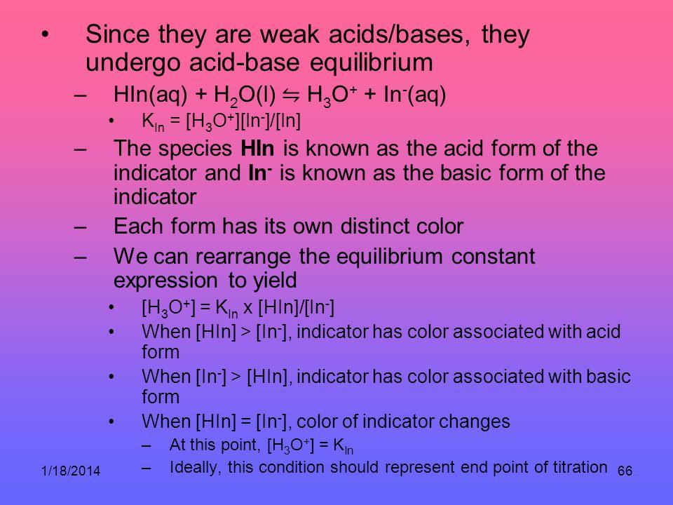 Since they are weak acids/bases, they undergo acid-base equilibrium