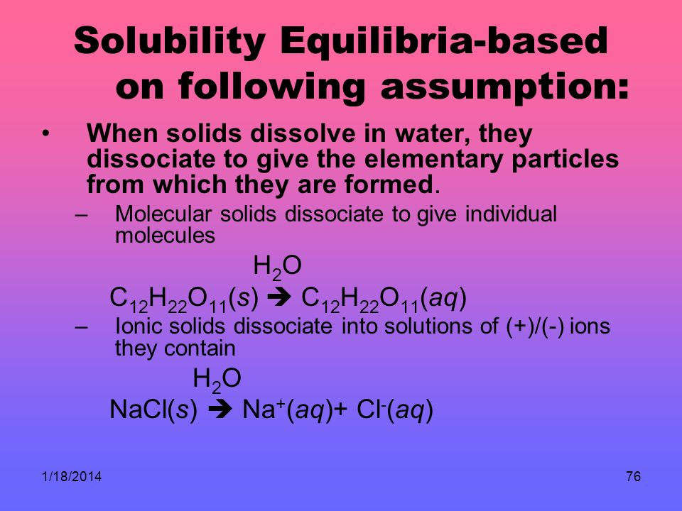 Solubility Equilibria-based on following assumption: