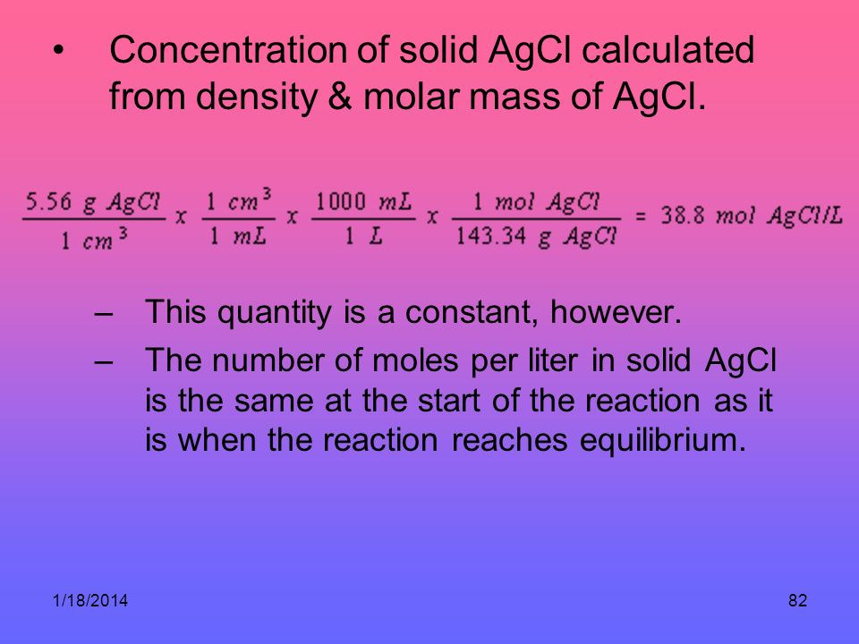 Concentration of solid AgCl calculated from density & molar mass of AgCl.