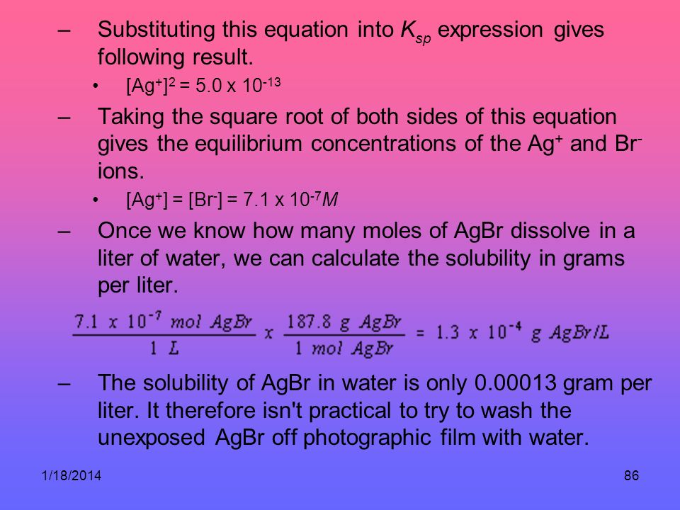 Substituting this equation into Ksp expression gives following result.