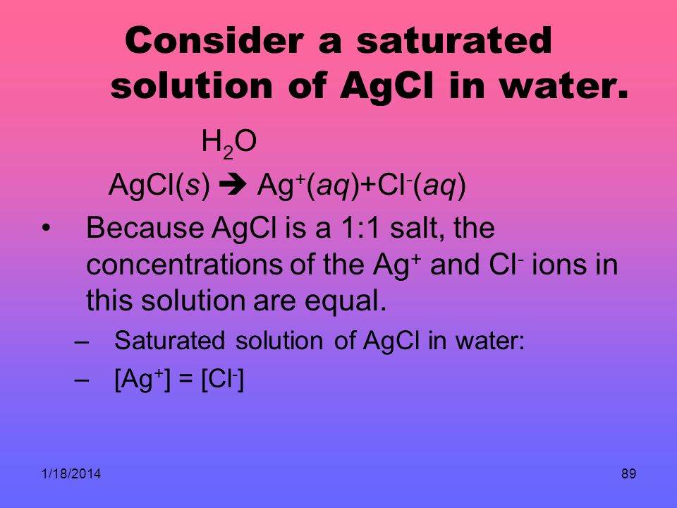 Consider a saturated solution of AgCl in water.