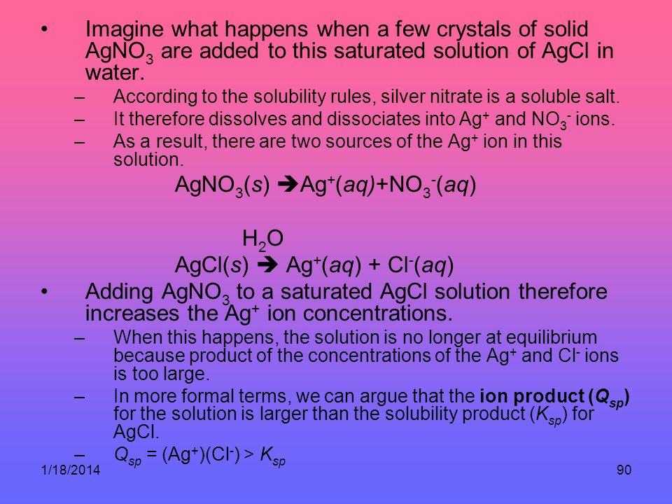 AgNO3(s) Ag+(aq)+NO3-(aq) H2O AgCl(s)  Ag+(aq) + Cl-(aq)
