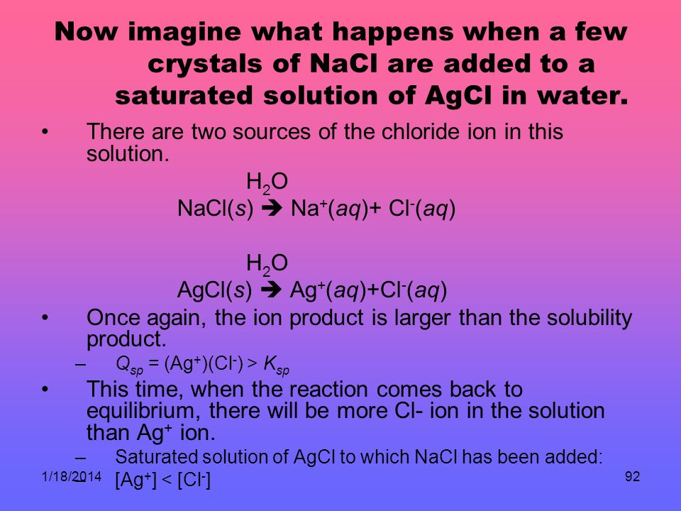 Now imagine what happens when a few crystals of NaCl are added to a saturated solution of AgCl in water.