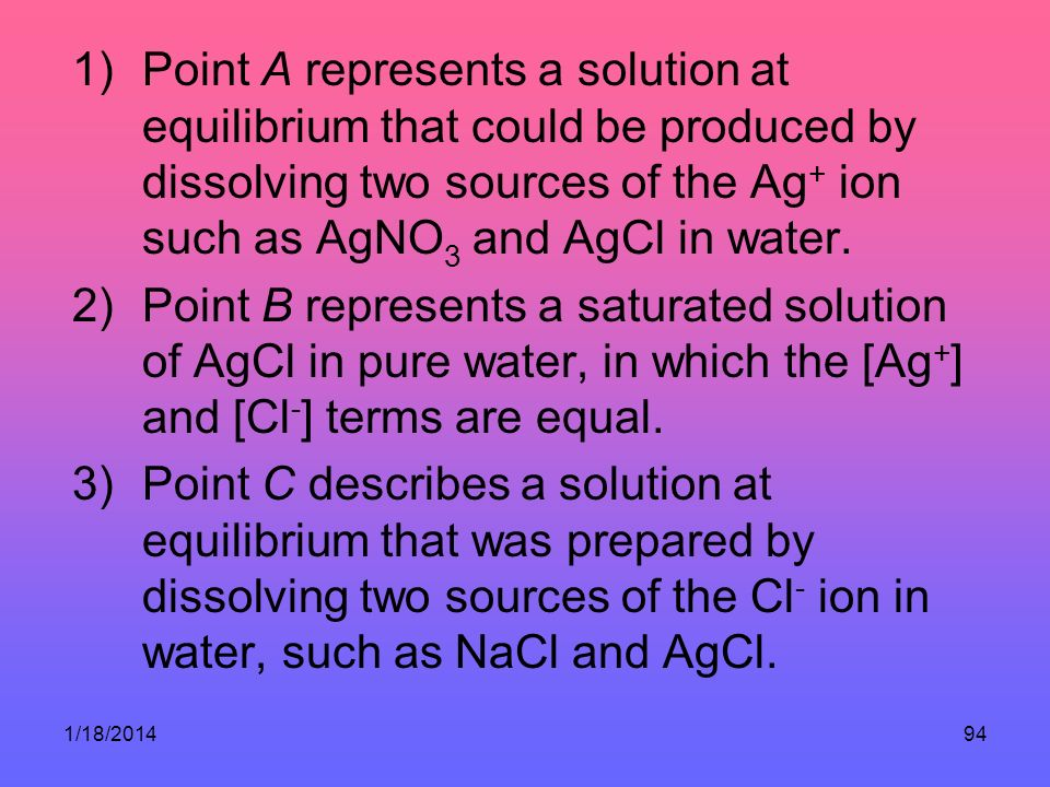 Point A represents a solution at equilibrium that could be produced by dissolving two sources of the Ag+ ion such as AgNO3 and AgCl in water.