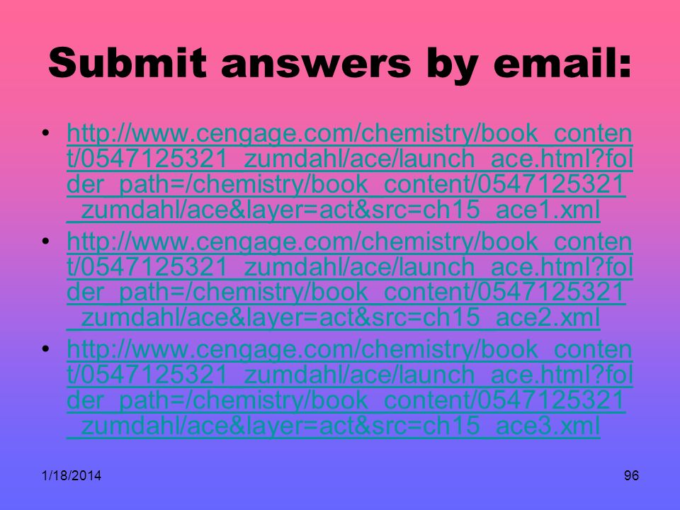 Submit answers by email: