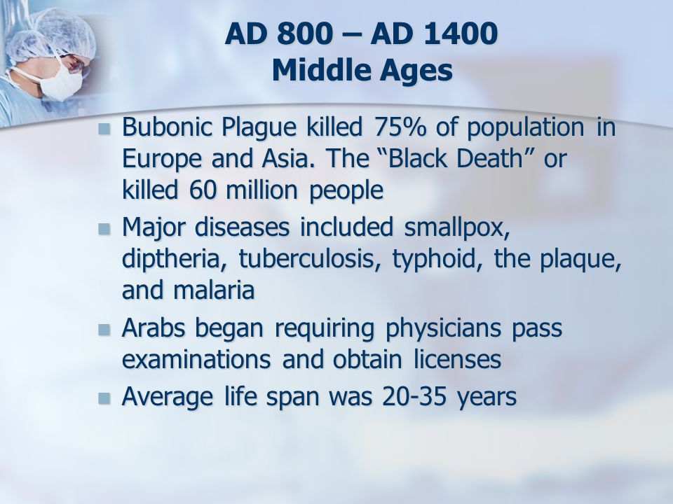 AD 800 – AD 1400 Middle Ages Bubonic Plague killed 75% of population in Europe and Asia. The Black Death or killed 60 million people.