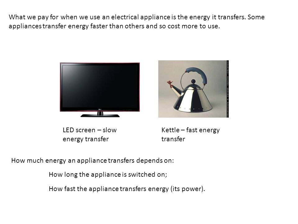 What we pay for when we use an electrical appliance is the energy it transfers. Some appliances transfer energy faster than others and so cost more to use.