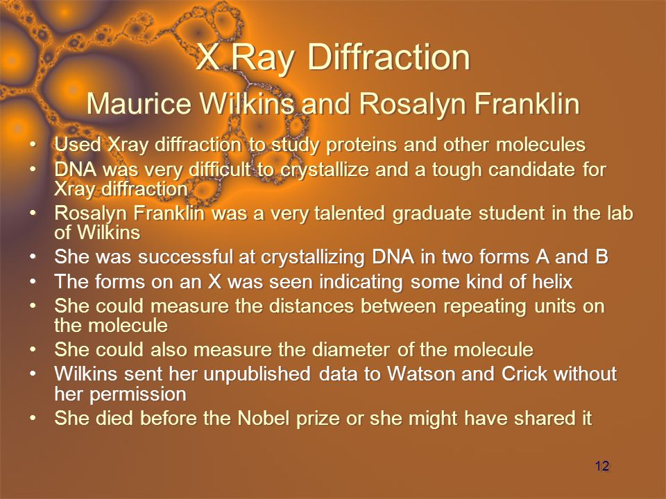 X Ray Diffraction Maurice Wilkins and Rosalyn Franklin