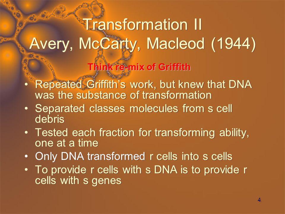 Transformation II Avery, McCarty, Macleod (1944)