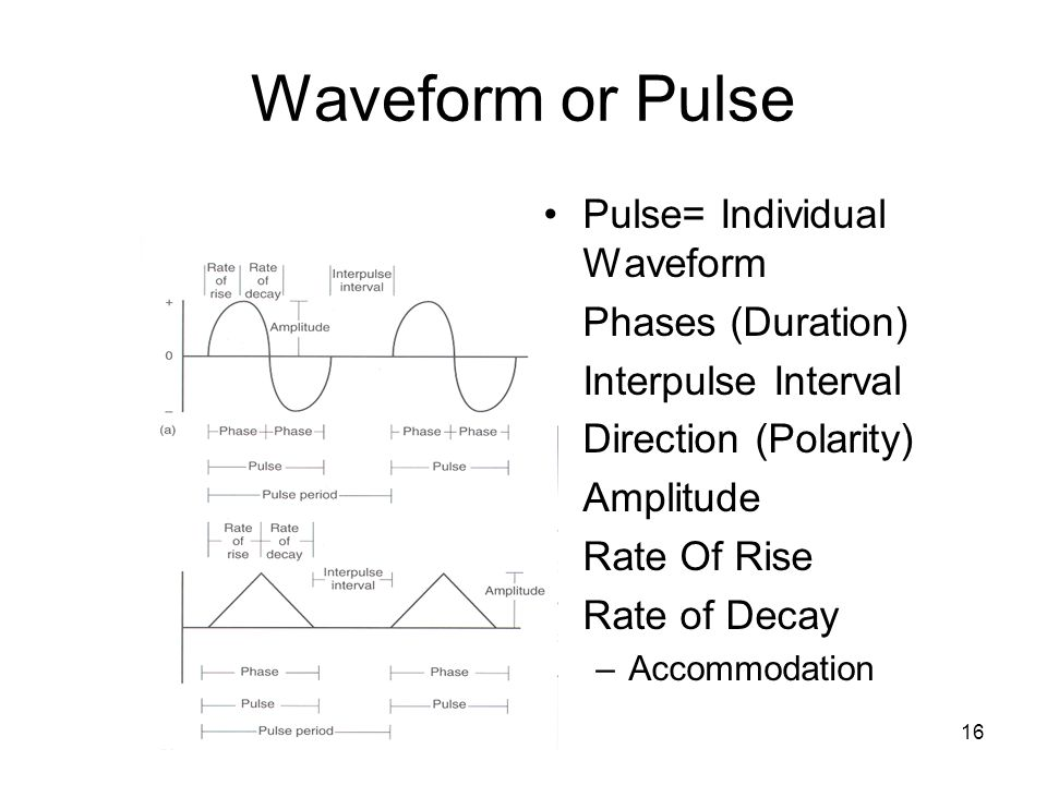 Waveform or Pulse Pulse= Individual Waveform Phases (Duration)