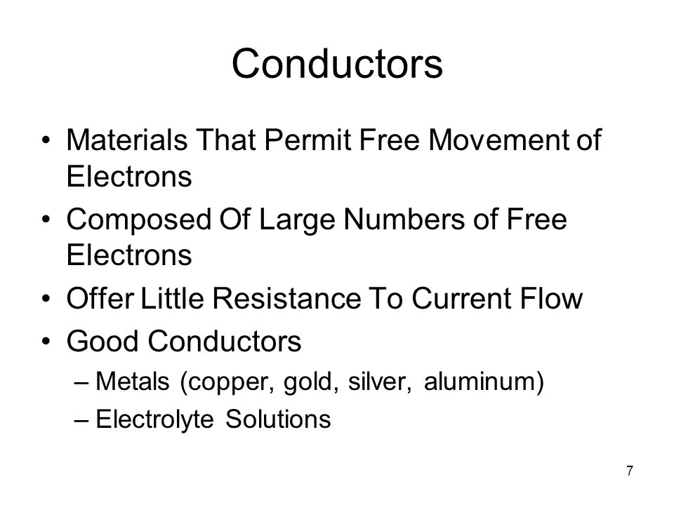 Conductors Materials That Permit Free Movement of Electrons