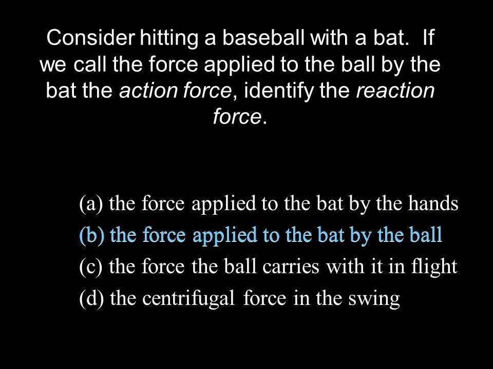 Consider hitting a baseball with a bat