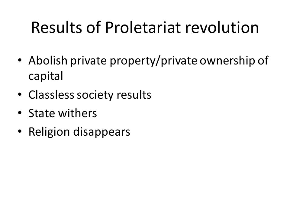 Results of Proletariat revolution